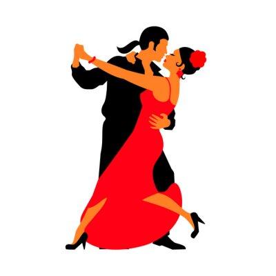 Sticker Silhouettes of the pairs dancing ballroom dances. Tango
