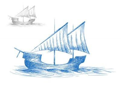 Sticker Sketch of old medieval sailing ship