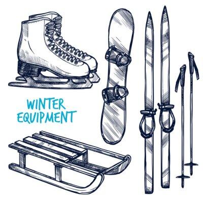 Sticker Sketch Winter Sport Objects