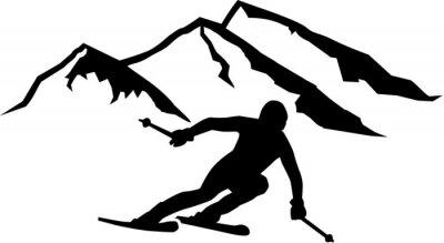 Sticker Ski Run Mountains Background