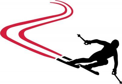 Sticker Ski Run with Red Track