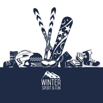 Sticker Skiing. Extreme winter sports.
