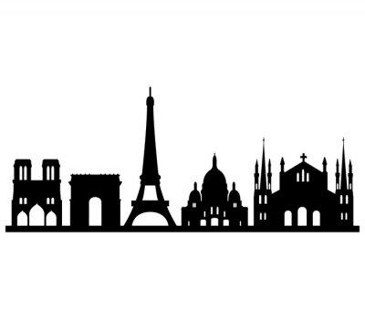 Sticker skyline parigi su sfondo bianco