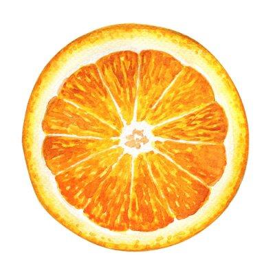 Sticker Slice of fresh orange isolated on white background