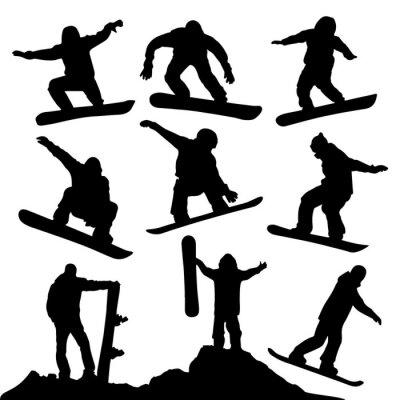 Sticker Snowboard Silhouettes