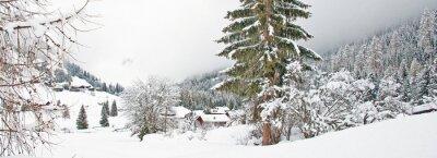 Sticker Snowy mountain in winter