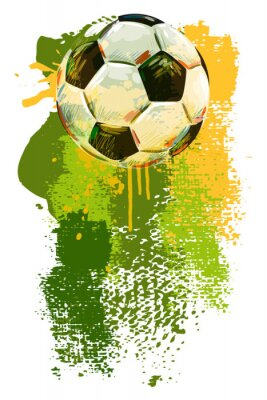Sticker Soccer ball Banner. All elements are in separate layers and grouped.