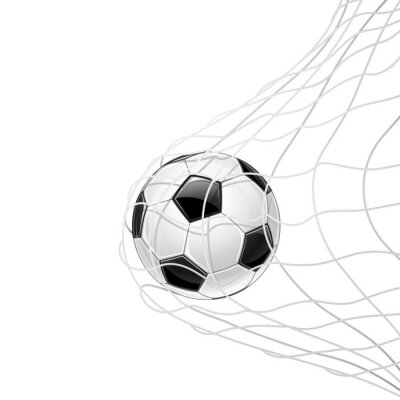 Sticker Soccer ball in grid isolated. Vector