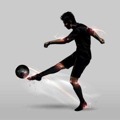 Sticker soccer player half volley