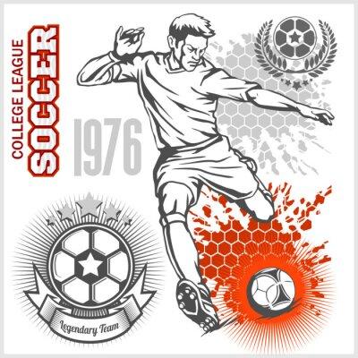 Sticker Soccer player kicking ball and football emblems.
