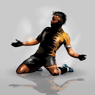 Sticker soccer player scoring goal
