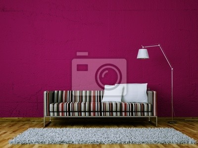 Sticker Sofa 3d rendering with stripes