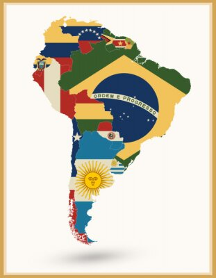 Sticker South America Map With Flags And Vintage Colors