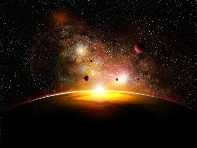 space and planets with constelatin