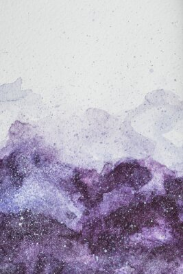 Sticker space painting with purple watercolor paint on white background
