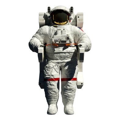 Sticker spacewalking astronaut - 3d illustration front view on white