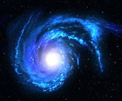 Sticker Spiral galaxy in deep space with star field background.