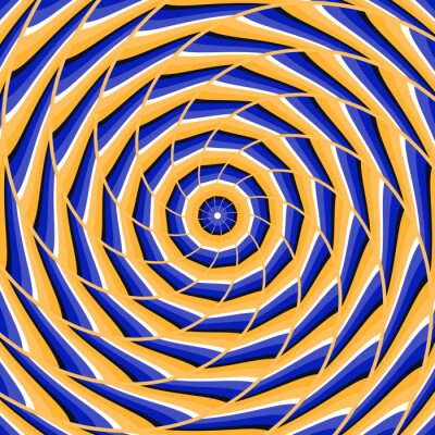 Sticker Spiral twisting to center. Abstract vector optical illusion background.