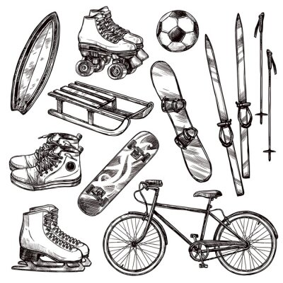 Sticker Sport Equipment Set