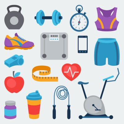 Sticker Sports and fitness icons set in flat style.