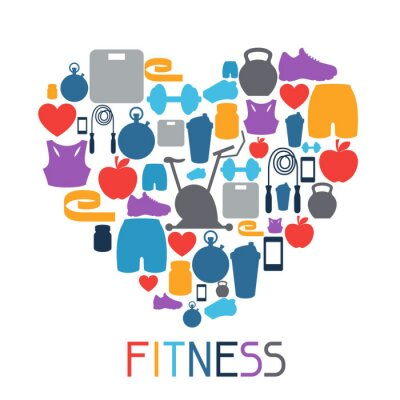 Sticker Sports background with fitness icons in flat style.