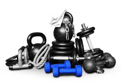 Sticker Sports equipment for bodybuilding collected in a heap