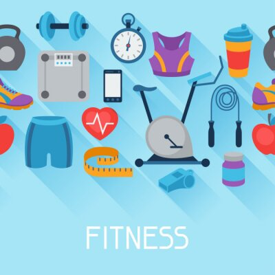 Sticker Sports seamless pattern with fitness icons in flat style.