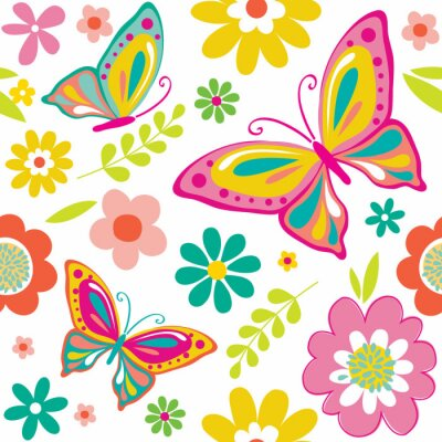 Sticker spring pattern with cute butterflies suitable for gift wrap or wallpaper background.  EPS 10 & HI-RES JPG Included