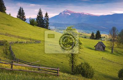 Spring village hills under Hoverla