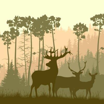 Sticker Square illustration of wild elk on edge of forest.