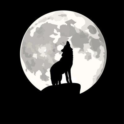 Sticker Square illustration of wolf howling at moon.