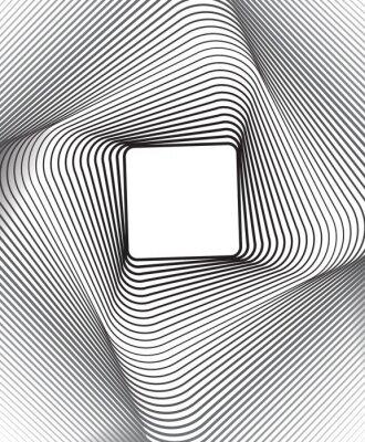 Sticker square optical art background black and white