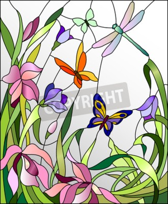 Sticker Stained glass window with flowers and butterflies