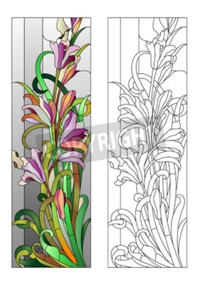 Sticker Stained glass window with purple floral pattern