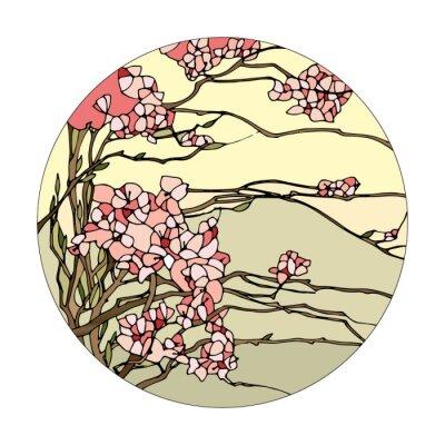 Sticker Stained glass window with sakura