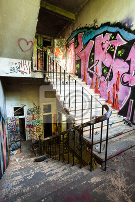 Sticker Staircase in abandoned factory.