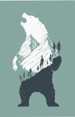 Sticker Standing Bear Illustration
