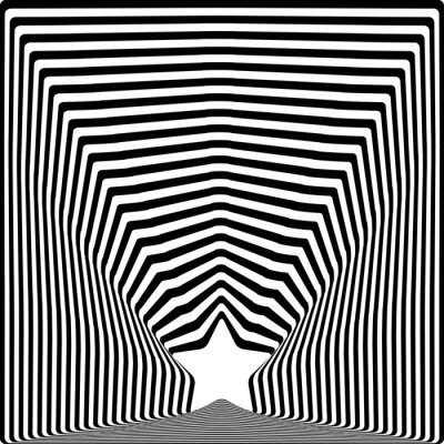 Sticker Star black stripes optical illusion visual art effect.