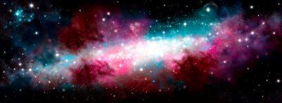 Sticker Star nebula birth of a galaxy. The birth of the galaxy. Shining stars. Star nebula. Cluster of stars. The night starry sky. Space background. Spase. Universe