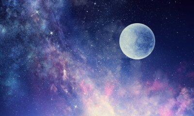 Sticker Starry sky and moon. Mixed media