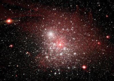 Sticker Stars, dust and gas nebula in a far galaxy