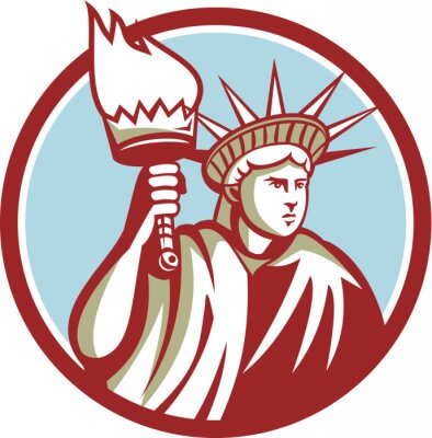 Sticker Statue of Liberty Holding Flaming Torch Circle Retro