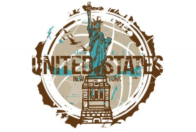 Sticker Statue of liberty, New York / USA. City design. Hand drawn illustration.