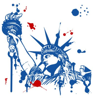 Sticker statue of liberty with torch with ink dripping