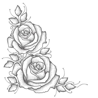 Sticker Stem with dotted rose flower and leaves isolated on white background. Floral elements in dotwork style.