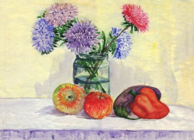 Sticker Still life. Bouquet of asters, apples, peppers, eggplant. Watercolor painting