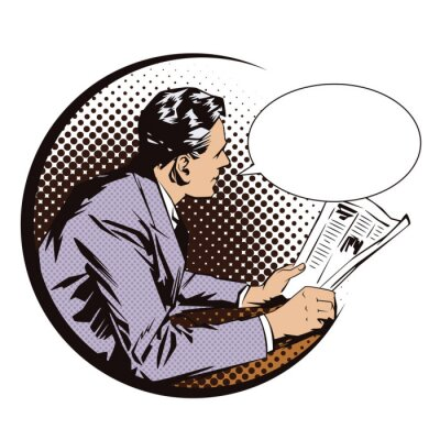 Sticker Stock illustration. People in retro style pop art and vintage advertising. Men with the newspaper. Speech bubble.