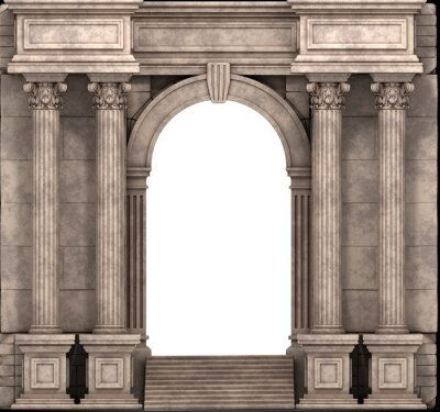 Sticker Stone Steps And Entry Way With Corinthian Columns. 3d render.