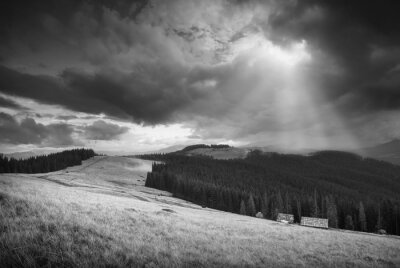 Stormy clouds. Black and white