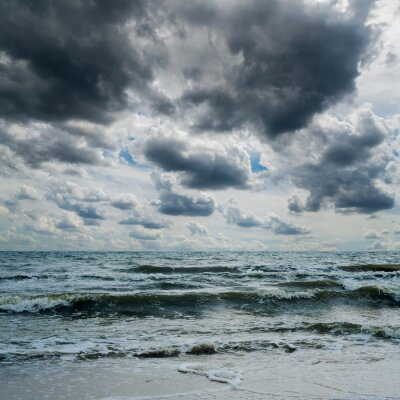 Sticker stormy sky over dark sea